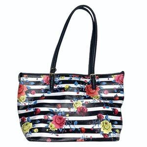 🆕 Black & White Stripe Floral Shoulder Bag -Bueno